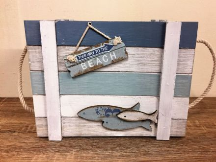 Medium Wooden Nautical Distressed To The Beach Chest with Rope Handles